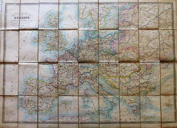 Carte Routiére De L'Europe 1877 map Landkarte