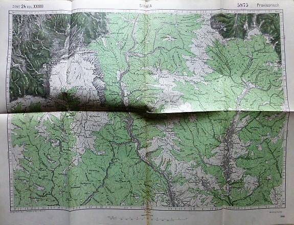 Sinaia Romania harta old map Landkarte 1915
