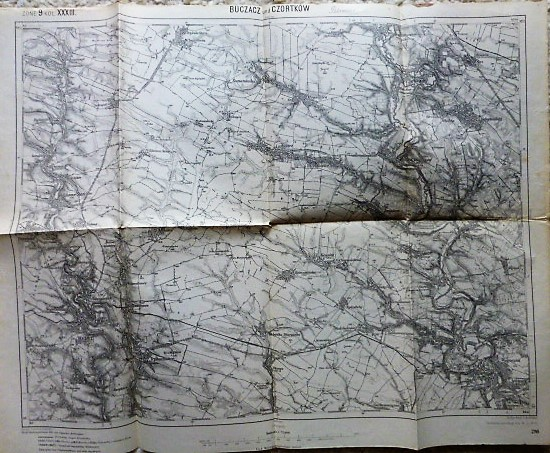 Buczacz und Czortkow Buchach Csortkiv Ternopil Ukraine karta map Landkarte 1914