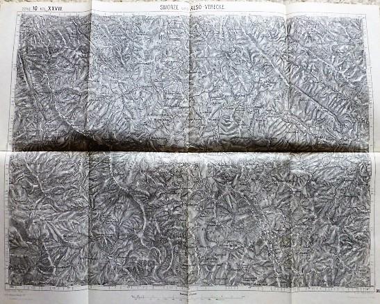 Smorze und Alsó-Verecke Smozhe Ukraine 1913 Karta map Landkarte