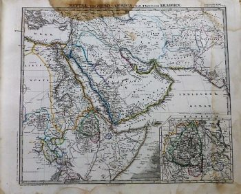 Middle East map 1868 Arabien Landkarte