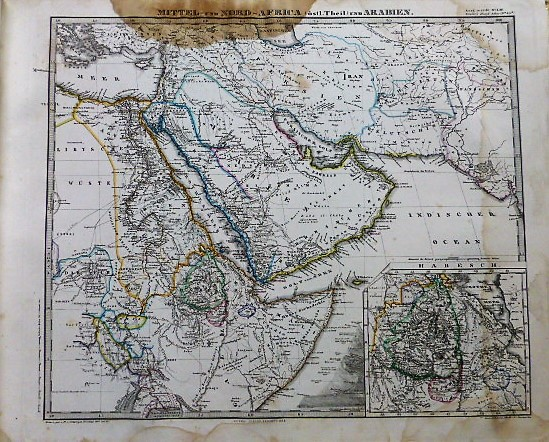 Middle East map 1868 Arabien
