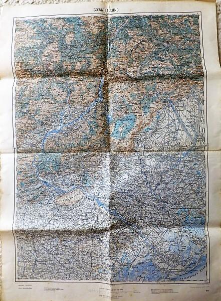 Belluno Italy 1917  map mappa Landkarte