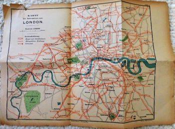 Karte des Bahnnetzes von London train map cca1900