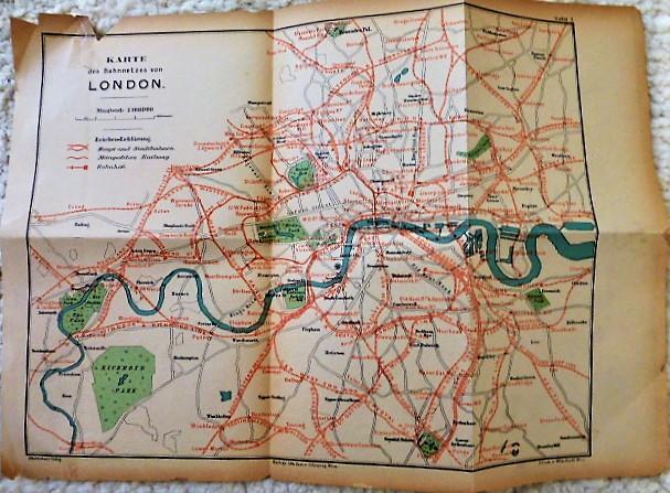 Karte des Bahnnetzes von London train map 1900