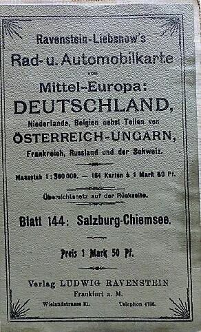 Rad-u. Automobilkarte Salzburg Chiemsee 1920