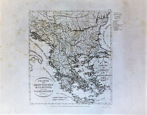 Charte Der Griechischen Halbinsel Nachbarinseln