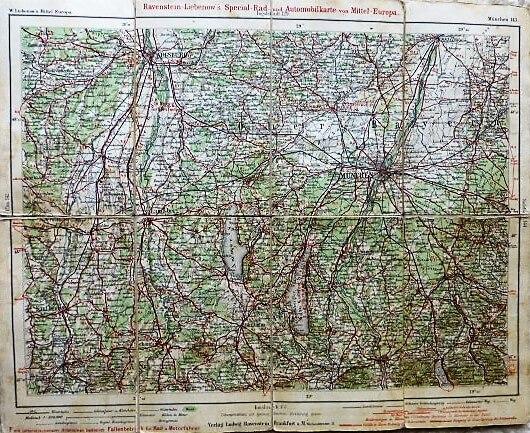 Rad-u. Automobilkarte Deutschland München ungebung
