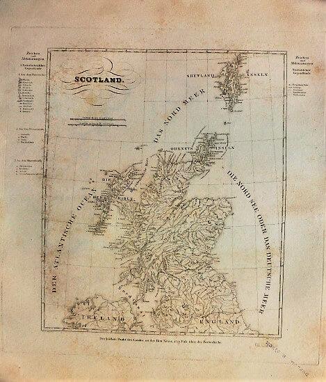 Scotland german old map Schottland Landkarte