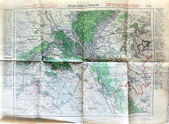 Pozsony Bratislava Hainburg Oroszvar Landkarte 1934