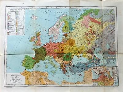 Völkerkarte von Europa Ethnographische Übersicht Hartlebens