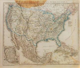 Verein-Staaten von Nord-America Mexico Yucatan Landkarte 1867