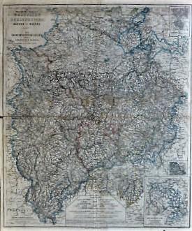 Westfalen Rheinprovinz Hessen Nassau Landkarte cca 1860