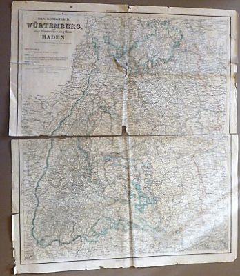 Das Königreich Würtemberg und das Grossherzogthum Baden Landkarte
