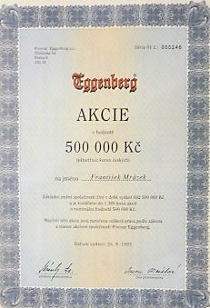 Eggenberg akcie Aktie share Czech Republic