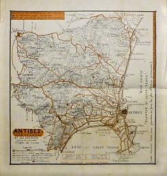 Antibes Les Fleurs Et Ses Environs France carte Frankreich Landkarte old map 1924