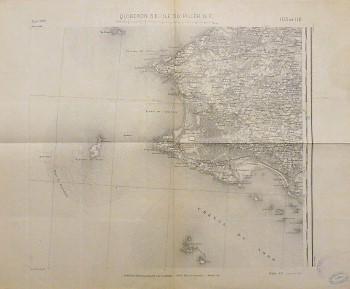 Quiberon S.E. - Ile Du Pilier N.E. France carte Frankreich Landkarte old map France 1927