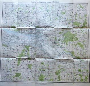 Karte von Hamburg und Umgegend Maafdi Landkarte 1921 old map