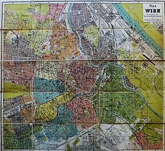 Plan von Wien mit Angabe der Neuen Bezirkseintheilung Hartleben