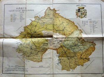 Harta Judetului Satu-Mare 1928 Romania Landkarte Rumanien old map