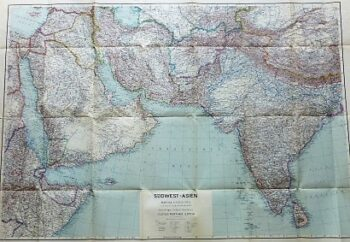Middle East Arabian Gulf India old map 1942