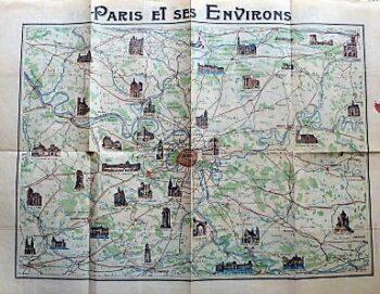 Paris Monumental Et Metropolitian Karte old map Paris