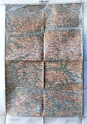 Bruneck Lienz Kitzbühel Grossglockner Österreich Landkarte 1914