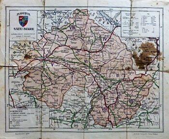 Judetul Satu-Mare Harta Landkarte Rumanien old map Romania