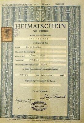 Heimatschein Laxenburg Österreich 1922