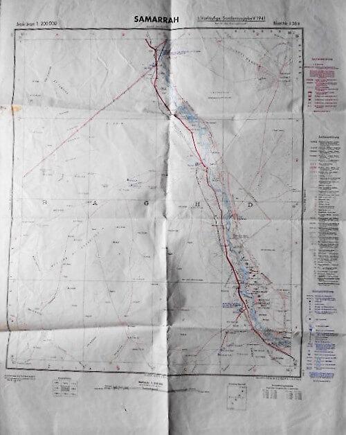 Samarra Irak Landkarte Iraq old map 1941