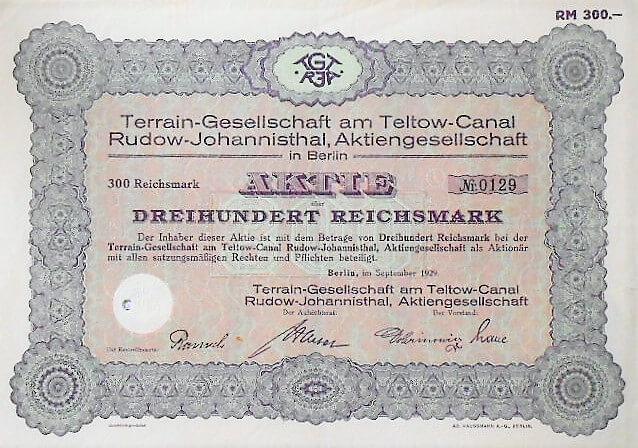 Terrain-Gesellschaft am Teltow-Canal Aktie Berlin 1929