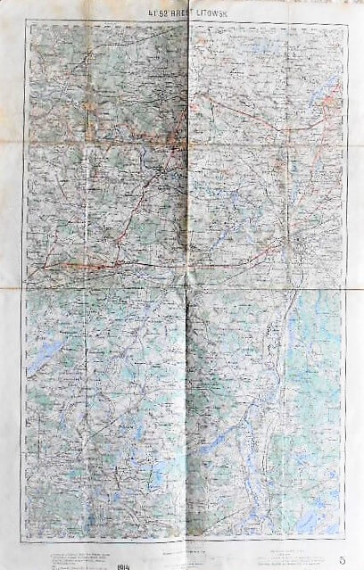 Brest Litovsk WeissRussland Landkarte Belorus old map 1914