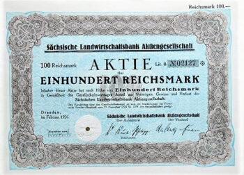 Sächische Landwirtschaftsbank Aktiengesellschaft Dresden 1926