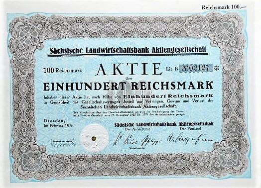 Sächische Landwirtschaftsbank Aktiengesellschaft 100 Reichsmark Dresden
